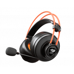 Audífonos Gamer Cougar Immersa Ti, Wired, Cable 2 mt., Black/Orange