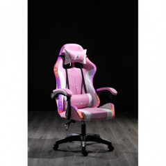 SILLA PANTHER GAMER RECLINABLE WHITE ROSA RAINBOW  RGB