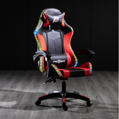 SILLA PANTHER GAMER RECLINABLE BLACK RED RAINBOW  RGB