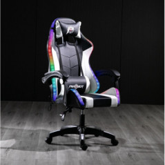 SILLA PANTHER GAMER RECLINABLE WHITE BLACK RAINBOW  RGB